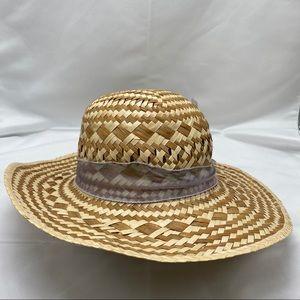 Wide Brim Straw Hat with Purple/Blue ribbon